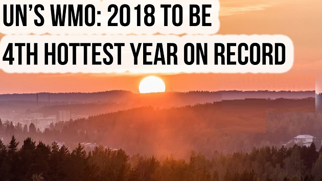 UN'S WMO : 2018 4th Hottest Year On Record
