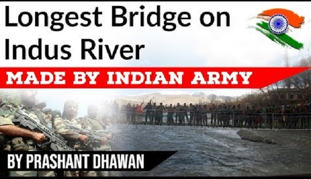 Indian Army Builds The Longest Bridge of India Over Indus In Leh