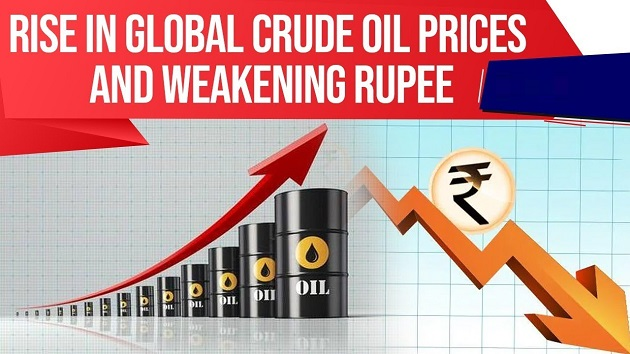Rise in Global Crude Oil prices & weakening Rupee