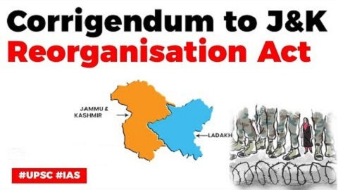 Law Ministry issues corrigendum to Jammu and Kashmir Reorganisation Act